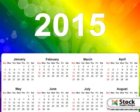 calendar design 2015 vector free download vector 2015 calendar on rainbow colors background vector