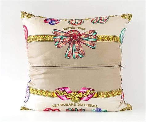 Hermes Pillows by Hermes Pillow Silk Scarf Print Les Rubans Du Cheval