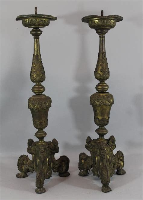 Thin Candlesticks Early Antique 18thc Thin Pressed Brass 27in Christian