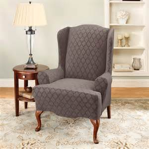 sure fit stretch marrakesh wing chair slipcover in