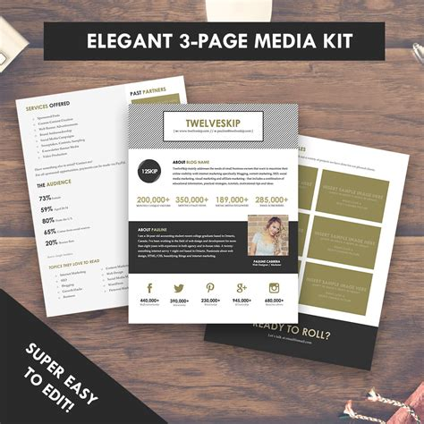 elegant blog media kit template press kit 3 pages