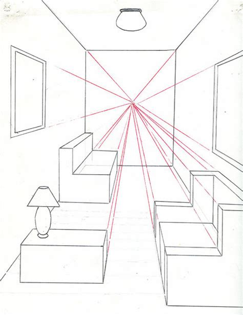 how to draw a room how to draw a room using one point perspective