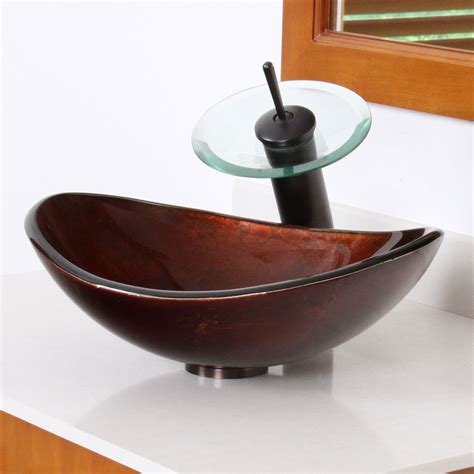 artistic bathroom sinks elite 1411 unique oval artistic bronze tempered glass