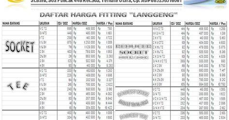 Daftar Fitting Pipa Galvanis Ukhuwah Daftar Harga Fitting Pipa