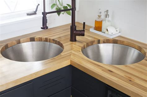 How To Install New Kitchen Faucet by Installing Butcher Block Counters With An Undermount Sink