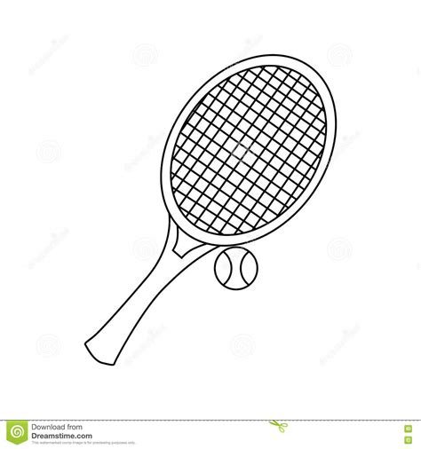Racket Outline by Tennis Racket With Tennis Icon Outline Style Stock Vector Illustration Of Lifestyle