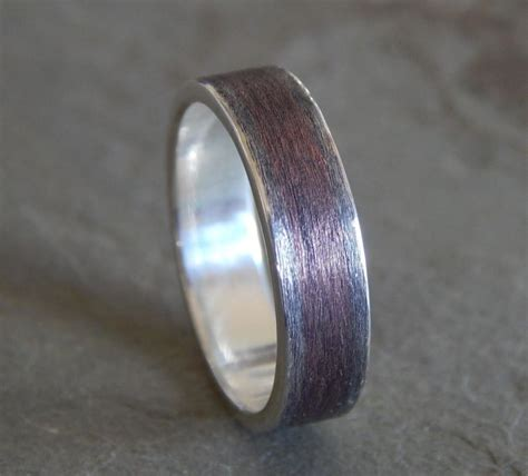 rustic textured silver copper wedding band s or