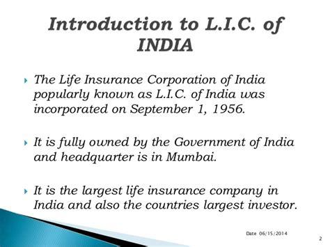 Mba In Insurance Mumbai by Ppts On Summer Internship Of Lic