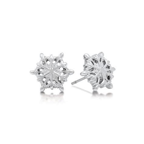 disney couture frozen white gold plated snowflake stud