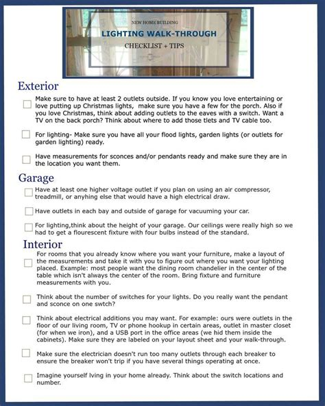 building new house checklist new home building lighting walk through checklist tips