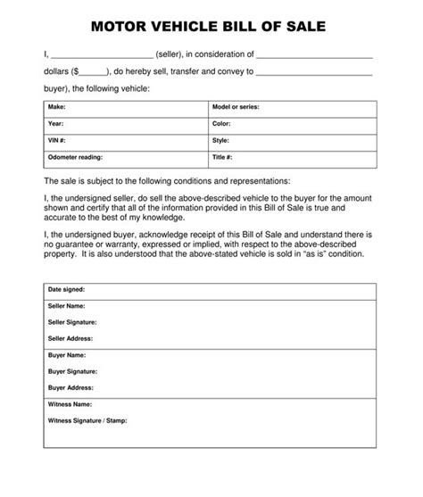 motor vehicle bill of sale template pdf free printable free car bill of sale template form generic