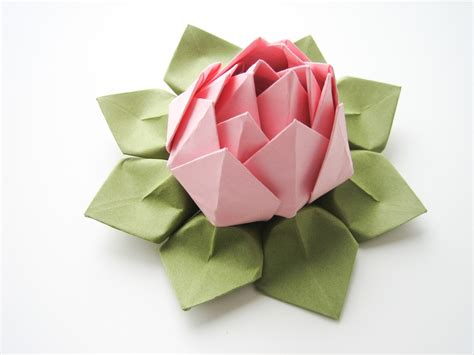 Origami Flower Lotus - handmade origami lotus flower blossom pink and moss green