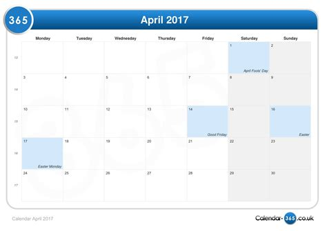 Calendar April Calendar April 2017