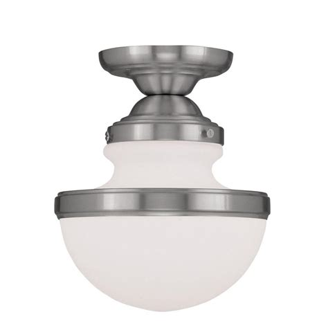 Semi Flush Ceiling Light Brushed Nickel by Livex Lighting Providence 1 Light Ceiling Brushed Nickel