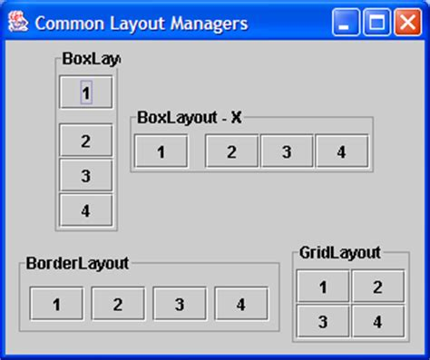 java layout exles swing demonstrates gridlayout layout 171 swing jfc 171 java