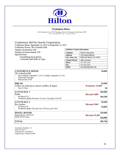 Hilton Sales Proposal Work Exle Hotel Meeting Room Contract Template