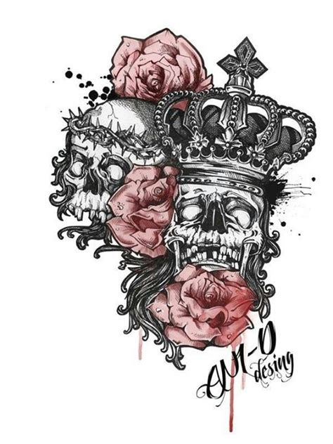queen tattoo in chinese king and queen of death masks tattoo pinterest queen