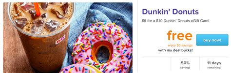 Living Social Gift Card - living social 10 dunkin donuts gift card for 5 living rich with coupons 174