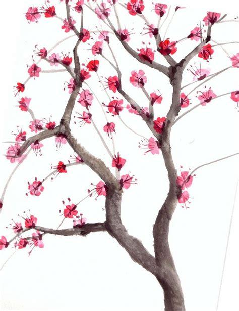 cherry tree design cherry blossom tree watercolor graphic design