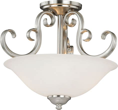 vaxcel c0102 belleville satin nickel ceiling light fixture