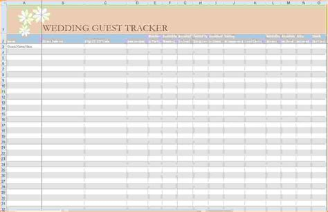 wedding guest list template excel 5 wedding guest list template excel teknoswitch