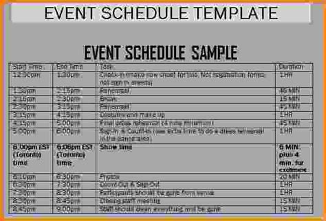 event schedule template word 11 event schedule template letter template word