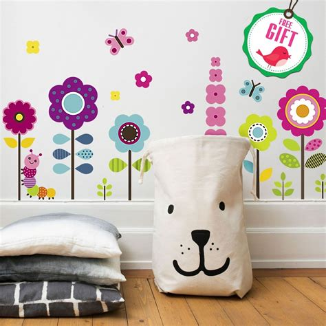 flower wall stickers for floral garden wall decals