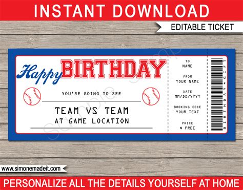 Baseball Game Birthday Gift Ticket Printable Ticket To The Baseball Baseball Ticket Template Free
