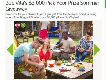 Bob Vila Sweepstakes - bob vila s 3 000 pick your prize summer giveaway sweepstakes