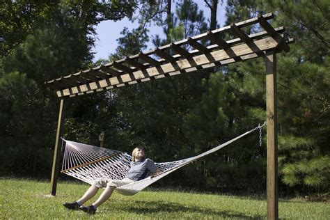 how to build a pergola cheap how to build a diy pergola hammock stand in a weekend for
