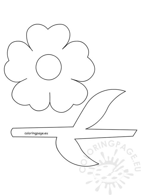 flower leaf coloring page flower with stem and leaves template coloring page