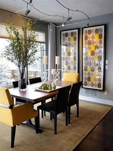 Dining Room Decor Pictures Furniture Trendy Color Duo Dining Rooms That Serve Up Gray And Yellow Sophisticated Dining Room