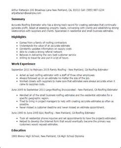Painting Estimator Sle Resume by Professional Roofing Estimator Templates To Showcase Your Talent Myperfectresume