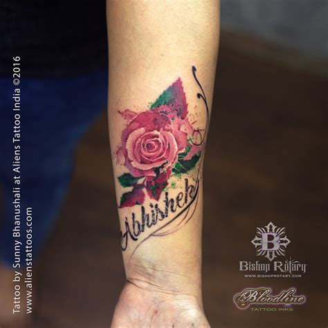 rose with name tattoo watercolour with name by bhanushali