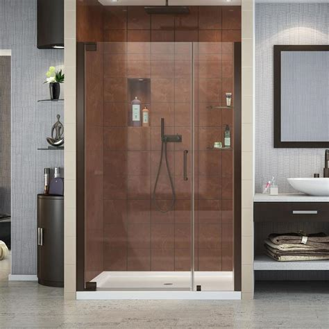 Bronze Shower Doors Shop Dreamline Elegance 46 In To 48 In W Frameless Rubbed Bronze Pivot Shower Door At Lowes