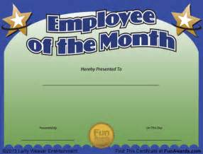 Free Employee Of The Month Certificate Template by Employee Of The Month Certificate Free Award Template