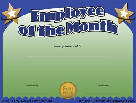 employee of month template employee of the month certificate free award template
