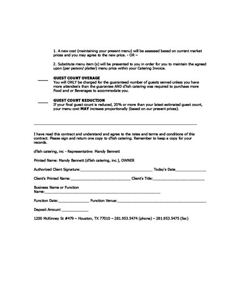 catering contract sle free download