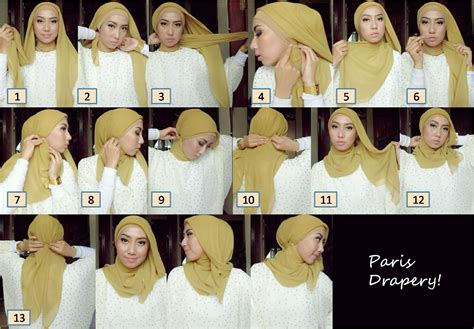 tutorial hijab wajah bulat paris draped hijab hijab tutorial pinterest