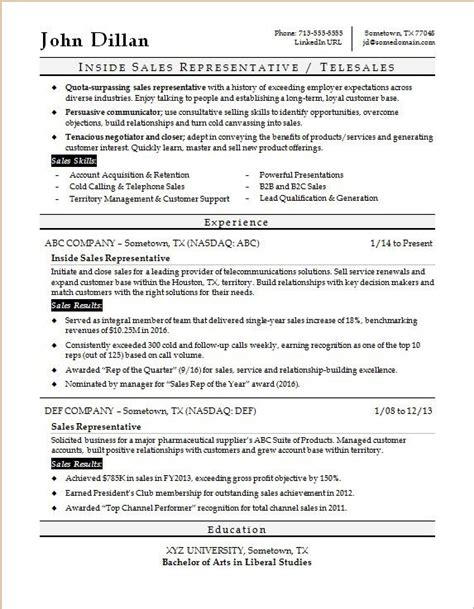 inside sales rep resume sle monster com