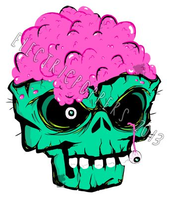 design art zombie zombie skull sticker design by electricpoppers on deviantart