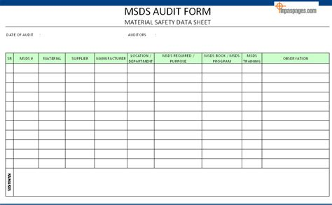 Msds Audit Form Record Audit Form Templates