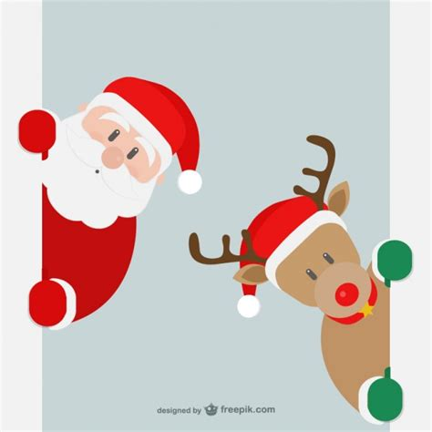 santa claus and reindeer vector free download