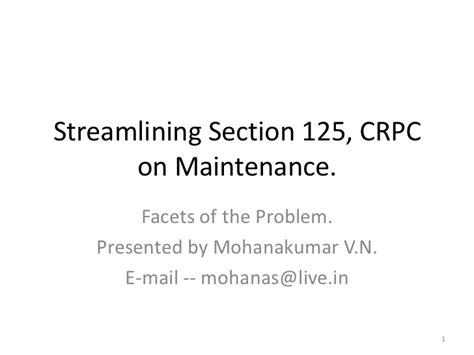 Streamlining Section 125 Crpc On Maintenance
