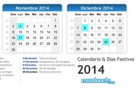 Calendario Noviembre 2014 Calendarios 2014 Festivos Colombia Imagui