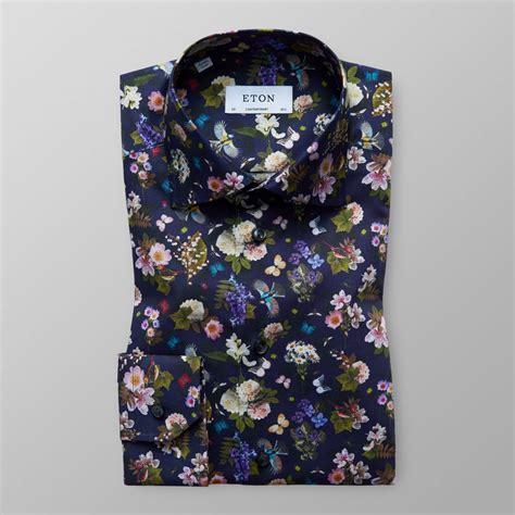 Print Shirt navy floral fauna print shirt contemporary fit eton
