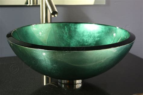 glass bathroom sink bowls 17 inch modern teal metallic sage green hand painted glass