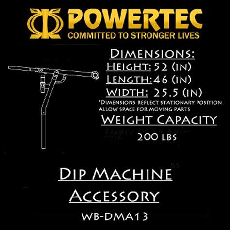 Powertec Workbench Olympic Bench by Powertec Fitness Workbench Dip Machine Accessory Wb Dma