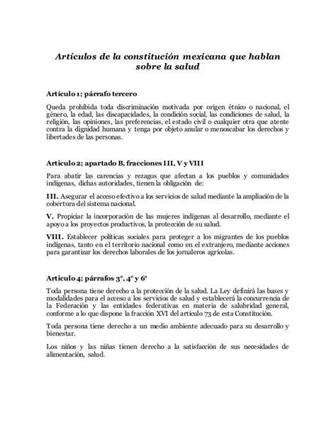 articulo de la constitucion que habla de los derechos articulos de la constitucion mexicana que hablan de la salud