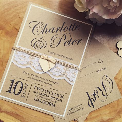 Handmade Engagement Invitations - handmade wedding invitation rustic wedding by